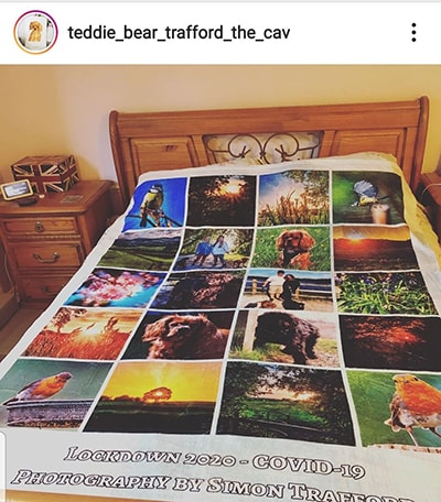 customer instagram image of large photo blanket on double bed