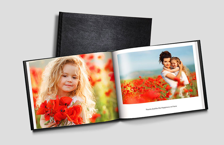 Custom Printerpix photo book with leather cover and personalised design