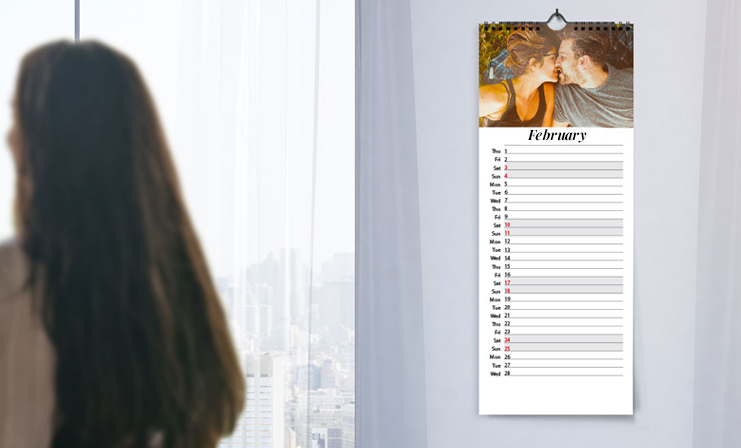 Long custom 2020 calendar with personalised design and family photos