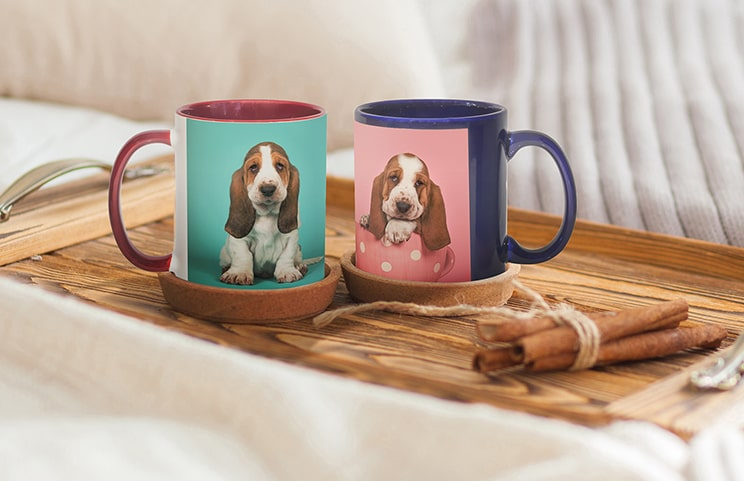 Red and blue Printerpix photo mugs with pictures of dogs on