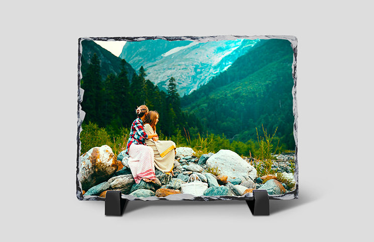 Stone slate with family photo