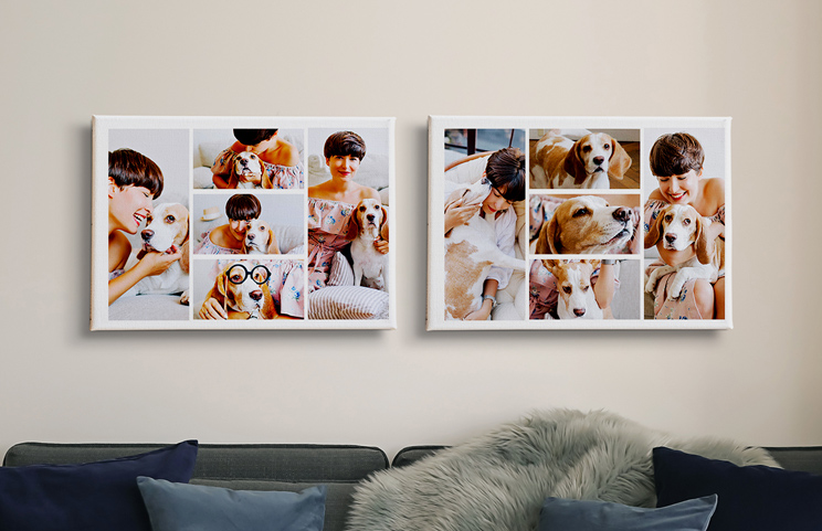 Photo collage of family pictures on canvas print