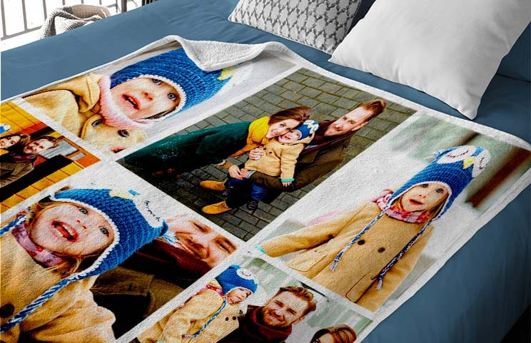 Printerpix personalised fleece blanket with photos of romantic couple and family christmas gift
