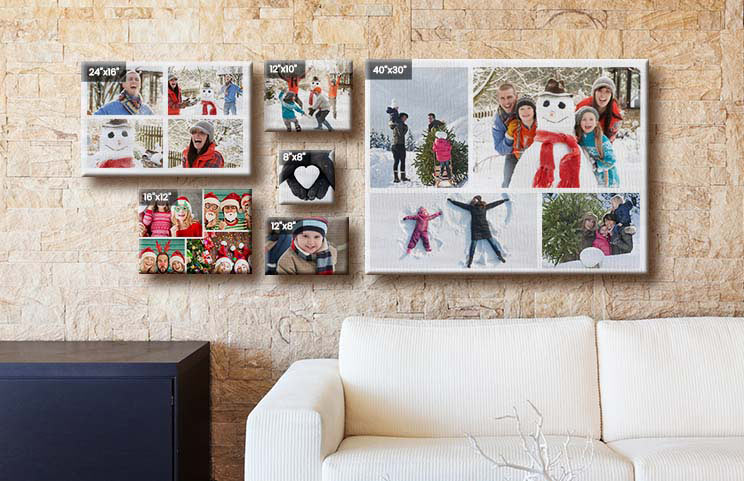Picture collage of holiday photos on canvas print hung on wall