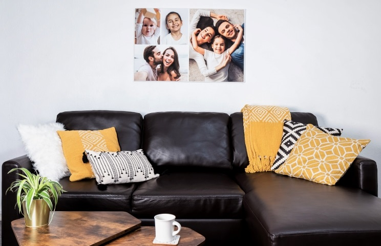 Wall hanging personalised canvas print with custom designed photo collage