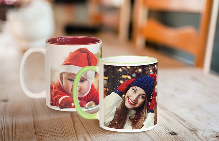 Two custom coloured personalised coffee mugs with family photo collage