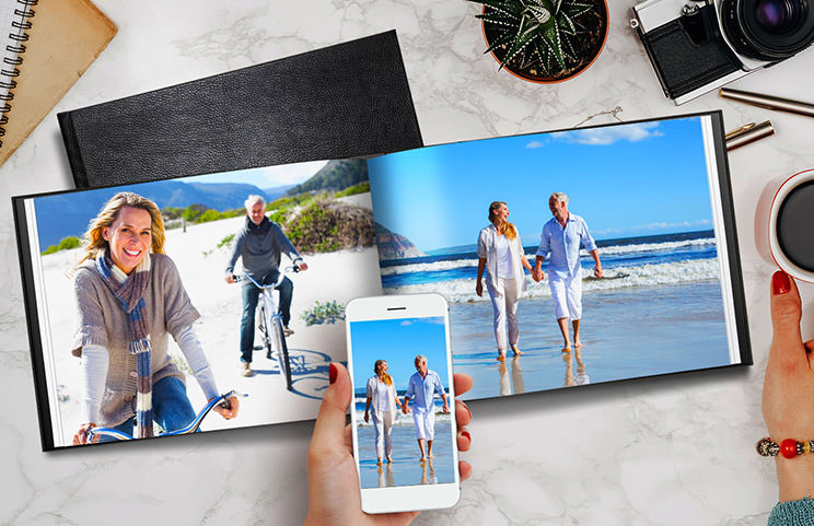 Old couple print large custom photos in leather photo album book
