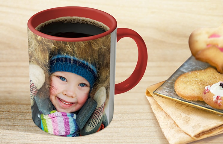 Coffee in red personalised photo mug with photo of young boy