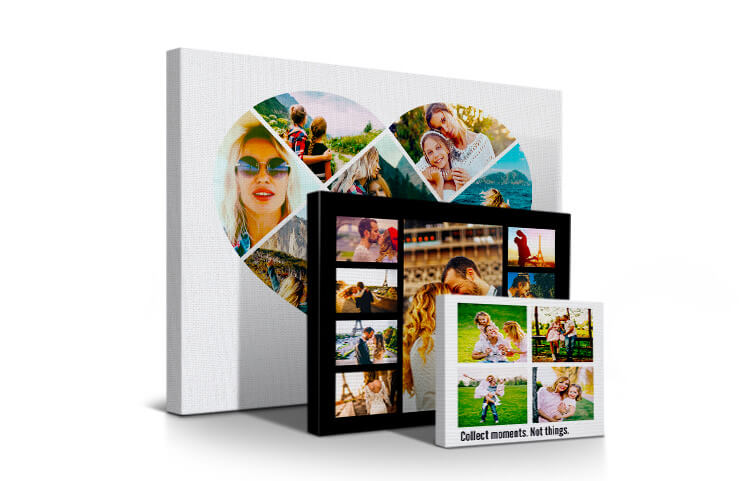 Large canvas print with custom picture collage of family photos